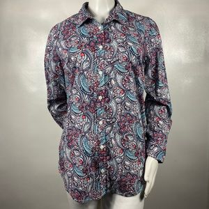 Kim Rogers Paisley Pink/Teal Button Down size L